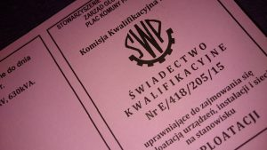 Świadectwo kwalifikacyjne Dozór i Eksploatacja